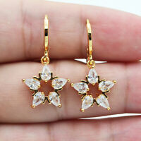 18K Yellow Gold Filled Women Clear Mystical Topaz Zircon Star Earrings Jewelry