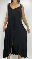 CITY CHIC Black Crepe Ruffle Hi-lo Button Front Midi Dress Plus Size S AU 16