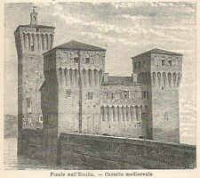 A6211 Finale nell'Emilia - Castello medioevale - Stampa Antica 1926 - Incisione