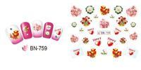 Nail Art Water Decals Stickers Transfers Valentines Day Flowers Honey BN759