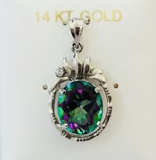 NEW 14K White / Yellow Gold Rainbow Mystic Fire Topaz Gemstone & Diamond Pendant