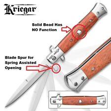 Kriegar Stiletto Spring Assisted Liner Lock Folding Knife - German Wood Handle
