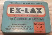 Vintage Ex-Lax The Chocolated Laxative Tin, Blue Orange, w/ Paper Insert