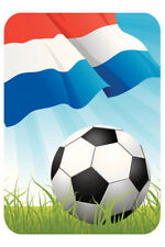 Netherlands Soccer Ball and Flag Sports Poster 12x18 inch