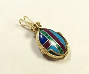 VINTAGE TURQUOISE LAPIS INLAY GOLD FILLED GF WIRE PENDANT NECKLACE