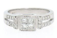 moderno 18ct Oro Blanco Princesa & Pavé De Diamante Banda Anillo en invisible