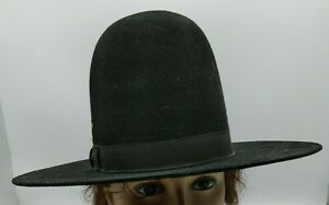 """Vintage Western Cowboy Hat Black Rounded Top Billy Jack Style Size 7.5"""", 7"""" Tall"""
