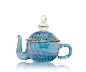 Transparent Blue Teapot hand Blown hanging christmas ornaments Ribbed Glass