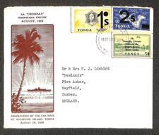 TONGA SCOTT #186 218-19 STAMPS TO ENGLAND ORONSAY SHIP TIN CAN CANOE MAIL 1969