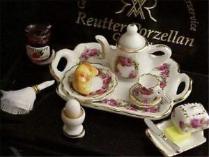 Dollhouse Deluxe Breakfast Tray Set 1.656/6 Reutter Roseband Miniature