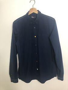 Fred Perry Men Shirt Size Medium Navy Blue Stitching Details