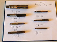 """7pc Lot Greenfield,etc.. Pipe Taps, Sizes 7/8""""-9 NC, 5/8""""-8 NF, 3/8""""-16 NC, etc."""