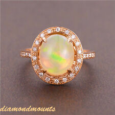 Genuine 14k Solid Rose Gold Natural Colorful Oval Opal Diamond Engagement Ring
