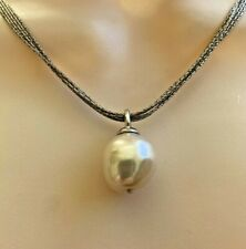 M .925 Sterling Silver Freshwater Pearl Five Strand Pendant Necklace 17""