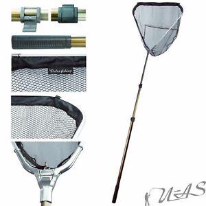 DELTA FISHING Aluminium Unterfang Kescher 3,00m 3tlg Gummiert Kopf 70x65cm Sha