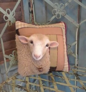 ANTIQUE LOG CABIN QUILT MINI PILLOW W HANDCRAFTED 2 D SHEEP ~ By Renate'