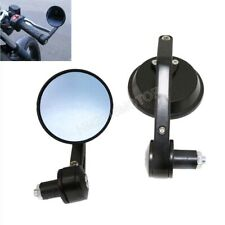 "Motorcycle CNC 7/8"" HandleBar Round End Mirrors For Cafe Racer Bobber Black"