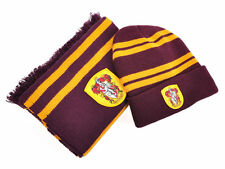 Harry Potter Gryffindor Knit Beanie Hat Cap and Scarf Deathly Hallows Costume