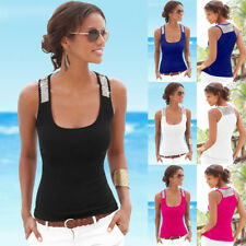 UK Womens Sleeveless Sequin Vest Tops Summer Ladies Casual Blouse T Shirt 6 - 18