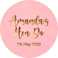 24 Personalised Glossy Hen Do Wedding Celebration Stickers Labels Bag