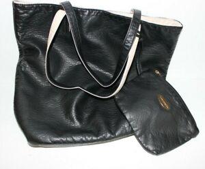 Like Dreams womens hand bag black & nude purse tote faux leather with mini bag