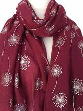 Bordeaux floral écharpe bordeaux fleurs wrap femme argent dandelion fleur châle