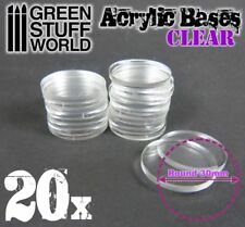 20x Acrylic Bases - Round 30mm CLEAR - Thickness 3mm Basing Wargames Miniatures