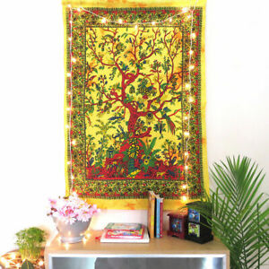 Dry Tree Of Life Wall Hanging Textile Tapestry Twin Blanket Bedspread Hippie
