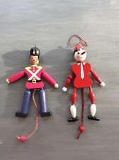 Wooden Pull String Toy Jumping Jack SET OF 2 Vintage Pinocchio Man Ornaments