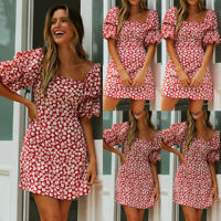 UK Womens Floral Puff Sleeve Dress Summer Holiday Square Neck Mini Sundress