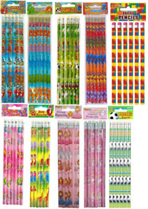 Novelty Pencils With Eraser Tip - School Stationery Gift Loot Party Bag Filler