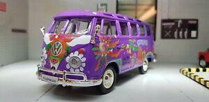 VW Split Screen T1 Camper Samba Hippie Flowers Van 1:25 1:24 Scale Diecast Model