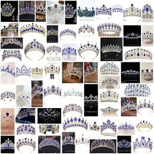 72 Styles Blue Crystal Princess Tiara Crown Combs Wedding Prom Party Pageant