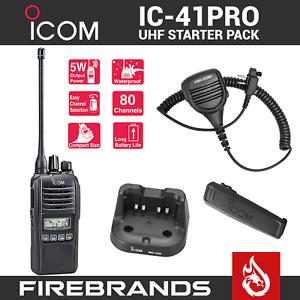 BLACK ICOM IC-41PRO Two Way UHF CB Handheld Waterproof Radio IC 41 PRO Portable