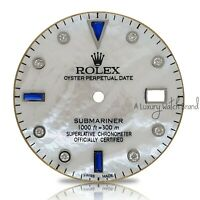 For Rolex Submariner White Mother of Pearl Diamond & Sapphire Dial for SS