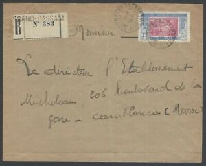 Ivory Coast #74 on 1935 registered cover to Morocco