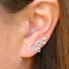 Simple Minimalist Sterling Silver .925 Bubbles Circles Ear Climbers Earrings