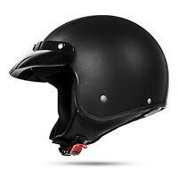 Classic 033 L Leder Schwarz ECE Jethelm für Harley Chopper Motorradhelm