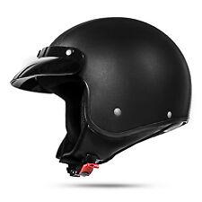 Classic 033 L Leder Schwarz ECE Jethelm für Chopper Moped Motorradhelm