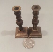 Vintage Dollhouse Miniature Brass Beehive Candlesticks~England (A8)
