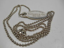 """""""Return to Tiffany"""" Large Oval Dog Tag Beaded Necklace Xtra Long Rare 34"""" Chain"""