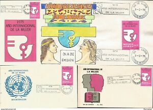 J) 1975 MEXICO, INTERNATIONAL YEAR OF WOMEN, SET OF 3 FDC AND 1 GUTEMBERG POSTCA