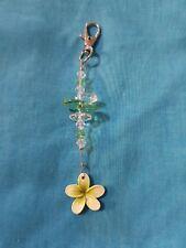 Frangipani Keyring - Green with swarovski crystals - 12cm