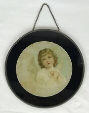 Antique Victorian Tin Flue Cover Angel Cherub Praying