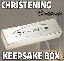 CHRISTENING CERTIFICATE HOLDER BOX - GREAT BABY BAPTISM KEEPSAKE GIFT SET