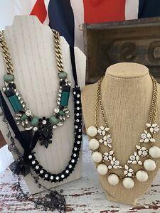 J. Crew Jewelry LOT Statement Necklace Long Short Rhinestones Black Green Cream