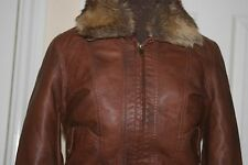 NEW LOOK Antique BROWN Faux Leather PU JACKET uk10 eu38 us6 Chest c34ins c86cms