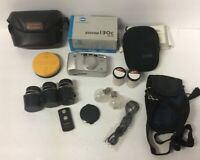 Vintage Camera Accessories Lot Kodak Film Lens Filter Flash Bulbs Leather Cases