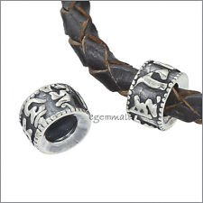 Antique Sterling Silver Ancient Chinese Words Heishi Bead For Leather Cord 51936