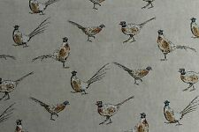 Pheasants Country Side Animals Linen Look Fabric